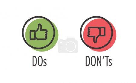 Illustration pour Faire et ne pas faire ou aimer & Contrairement aux icônes avec des symboles positifs et négatifs - image libre de droit