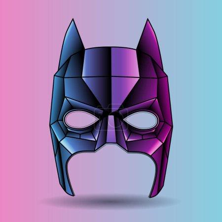 Illustration pour Illustration vectorielle, triangles graphiques, masque coloré superhéros Batman - image libre de droit