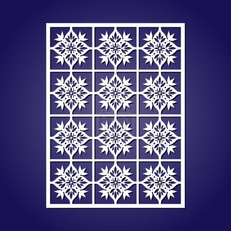 Laser cut vector template. Abstract cutting pattern seamless. Oriental decoration tiles ornament for paper or fretwork.