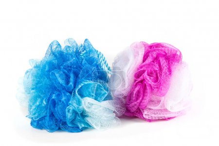 Blue and pink loofahs