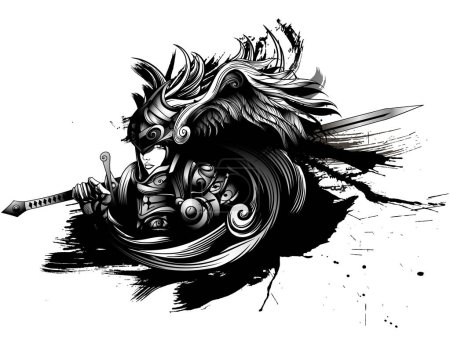 Illustration for Valkyrie in heavy armor with a sword - Royalty Free Image