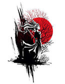 girl samurai standing with sword in hand a strong wind ruffling