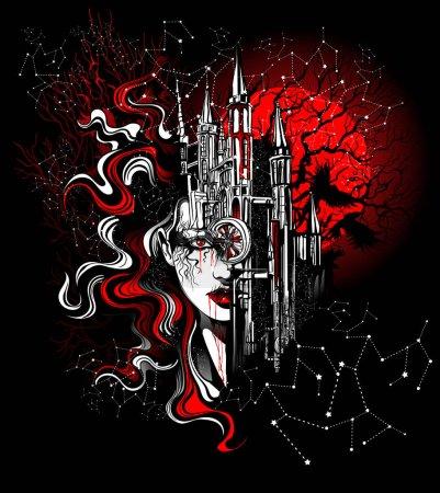 Illustration pour Visage d'une belle femme fusionne avec l'architecture de la vieille ville - image libre de droit