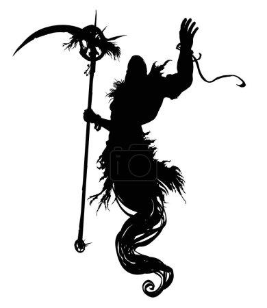 Illustration pour La silhouette d'un fantôme musclé dans une capuche, avec une énorme faux dans sa main droite, plane dans les airs, levant sa main gauche vers le haut. Illustration 2D - image libre de droit