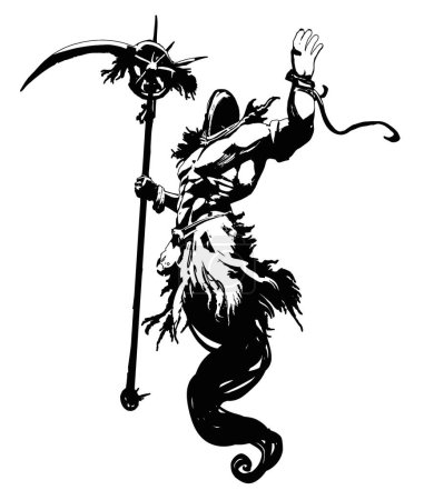 Illustration pour Un fantôme musclé dans un capot, avec une énorme faux dans sa main droite, plane dans les airs, levant sa main gauche vers le haut. Illustration 2D - image libre de droit