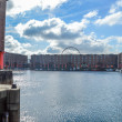 Постер, плакат: Liverpool UK April 03 Frontal view of Albert Dock with Echo Eye of Liverpool