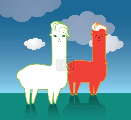 Illustration pour Design des personnages mignons Lama. EPS 8 pris en charge. - image libre de droit