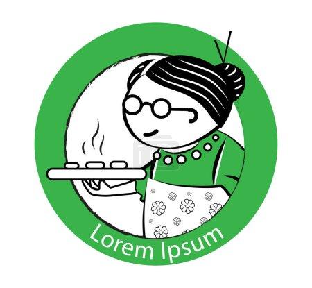 Illustration pour Grand-mère gâteau Logo Design Concept. EPS 8 pris en charge. - image libre de droit
