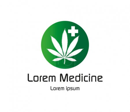 Illustration pour Canabis médecine Logo Design Concept Eps 8 pris en charge. - image libre de droit