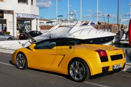 Yellow Lamborghini Gallardo in the