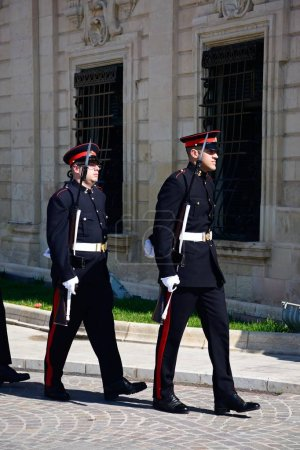 Military parade after the arrival of political dignitaries for the EPP European Peoples party congress outside the Auberge de Castille in Castille Square, Valletta, Malta