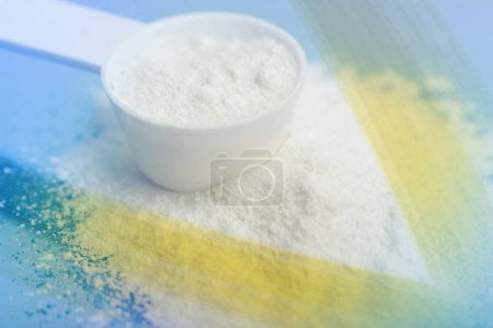 Photo for Power of Meds. Sport supplement, drug, creatine, hmb, bcaa, amino acid or vitamin mesure with powder. Sport nutrition concept. - Royalty Free Image