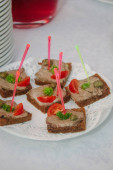 Catering food - sanwiches with salmon and meat