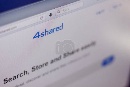 Ryazan, Russia - March 01, 2018 - Homepage of 4shared service on a display of PC, web adress - 4shared.com.