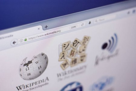 Ryazan, Russia - March 01, 2018 - Homepage of Wikimedia website on a display of PC, web adress - wikimedia.org.