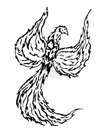 Firebird, mythical creature from russian tales, vector illustration