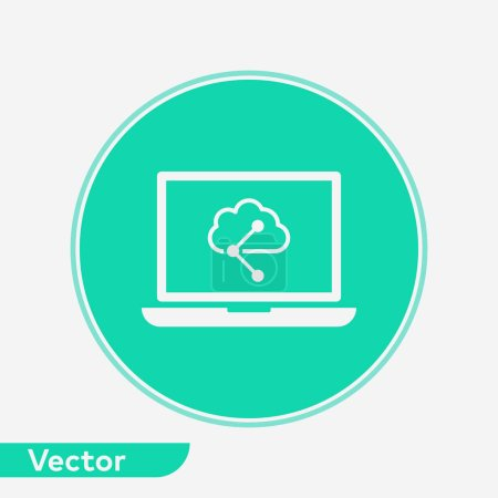 Illustration for Cloud computing vector icon sign symbol vector, filled flat sign, solid pictogram isolated on white. Symbol, logo illustration. - Royalty Free Image