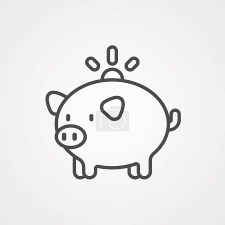 Illustration for Piggy bank vector icon sign symbol - Royalty Free Image