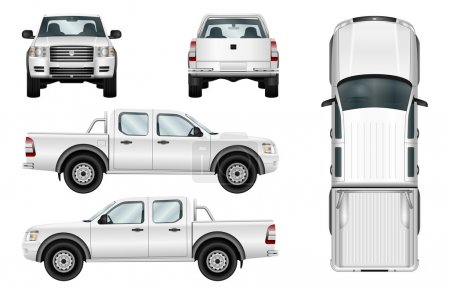 Vector pickup truck on white background