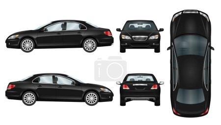 Illustration pour Modèle vectoriel voiture noire. Berline d'affaires isolée. La possibilité de changer facilement la couleur. Tous les côtés en groupes sur des couches séparées. Vue de côté, arrière, avant et haut . - image libre de droit