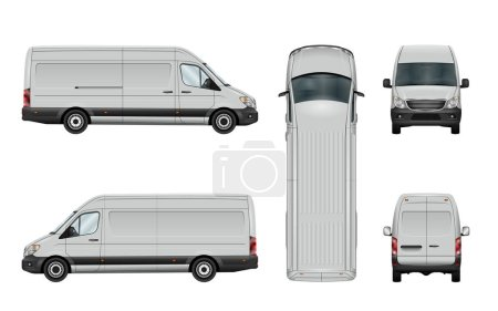 Illustration for White van template. Vector commercial vehicle isolated on white background. All elements in the groups have names, the view sides are on separate layers. There is the ability to easily editing. - Royalty Free Image
