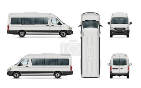 Illustration for White van vector template. Isolated passenger mini bus. All elements in the groups have names, the view sides are on separate layers. There is the ability to easily editing. - Royalty Free Image