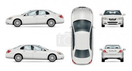 Illustration pour Modèle vectoriel de voiture sur fond blanc. Berline d'affaires isolée. Tous les calques et groupes sont bien organisés pour faciliter l'édition et la recoloration. Vue de côté, devant, derrière, en haut . - image libre de droit