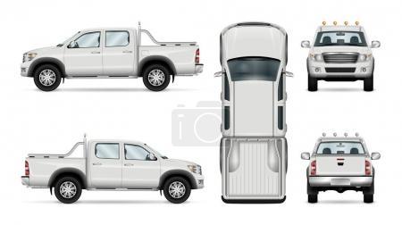 Illustration pour Modèle vectoriel camionnette, voiture isolée sur fond blanc. Tous les calques et groupes sont bien organisés pour faciliter l'édition et la recoloration. Vue de côté, devant, derrière, en haut . - image libre de droit