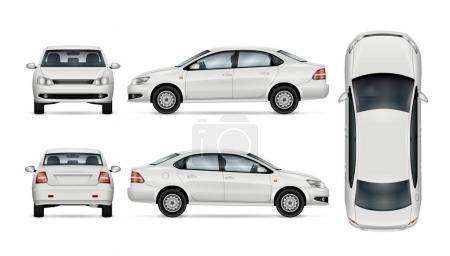 Illustration pour Modèle de voiture blanche pour la marque de voiture et la publicité. Berline isolée sur fond blanc. Tous les calques et groupes sont bien organisés pour faciliter l'édition et la recoloration. Vue de côté ; avant ; arrière ; haut . - image libre de droit