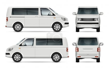 Illustration for Mini bus vector template for car branding and advertising. Isolated city minibus on white background. All layers and groups well organized for easy editing and recolor. View from left and right side, front, back. - Royalty Free Image