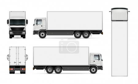Illustration for Semi truck template for car branding and advertising. Isolated cargo vehicle set on white background. All layers and groups well organized for easy editing and recolor. View from side, front, back, top. - Royalty Free Image