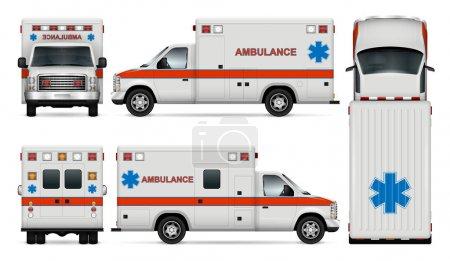 Illustration pour Modèle vectoriel de voiture d'ambulance blanche. Modèle de van médical isolé sur fond blanc. Tous les calques et groupes sont bien organisés pour faciliter l'édition et la recoloration. Vue de côté, avant, arrière et en haut . - image libre de droit