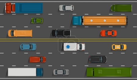 Illustration for Vector vehicles on the highway illustration. Various detailed cars and trucks with top view. Road auto transport on grey asphalt background. - Royalty Free Image