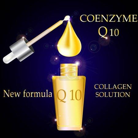 Illustration pour Co enzyme Q 10 flacon et pipette, collagène et sérum, avec compte-gouttes Gold, Concept Skin Care Cosmetic sur fond sombre . - image libre de droit