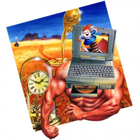 Photo for A strong man with a laptop for a head. A jack in the box pops out from the computer screen. In the background a desert with an antique clock and a melting coin. - Royalty Free Image