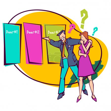 Illustration for A game show host offers a female contestant the decision of which door to choose. - Royalty Free Image