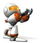 Cute robot kneeling is receiving something.