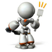 Cute robot with confidence in cooking skills.