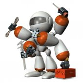 Multifunctional machine robot with many arms.