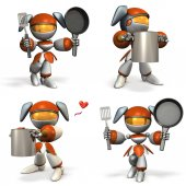 Cute female robot who is good at cooking. four elements.