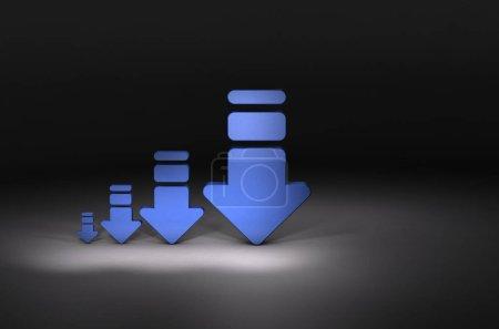 4 arrows gradually decreasing. Dark background. 3D...