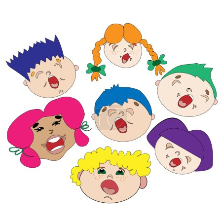 Choir of cheerful children. Boys and girls sing songs. colored hair