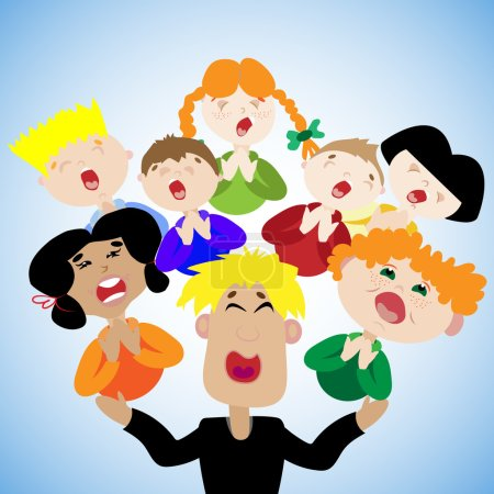 Funny children sing in the choir at the festival. Conductor runs children's choir