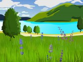 Summer landscape. Green lawn with flowers and trees. Lake and mountains. Clear weather.