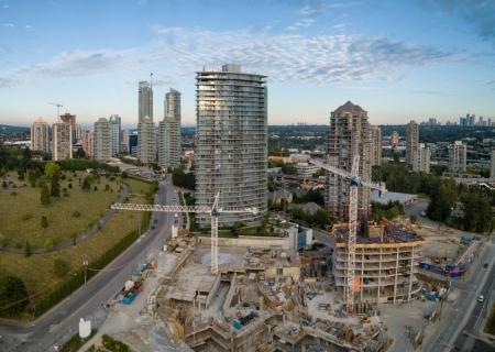 Metrotown City, Burnaby, Vancouver, BC, Canada. Taken from an aerial perspective on a sunny evening.