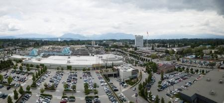 Surrey, Greater Vancouver, British Columbia, Canada - June 11 , 2017 - Aerial Panoramic view of Guildford Shopping Mall.