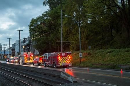 New Westminster, Greater Vancouver, BC, Canada - May 06, 2017 - Fire Department, Ambulance and Police are responding to an emergency early morning.