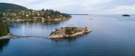 Aerial panoramic view of Whytecliff park in Horseshoe Bay, North Vancouver, British Columbia, Canada.