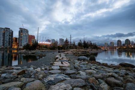 Park in False Creek, Downtown Vancouver, BC, Canada. Picture taken during a cloudy morning.