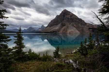 Beautiful landscape view of Bow Lake in Banff National Park, Alberta, Canada. Taken during a cloudy summer morning.